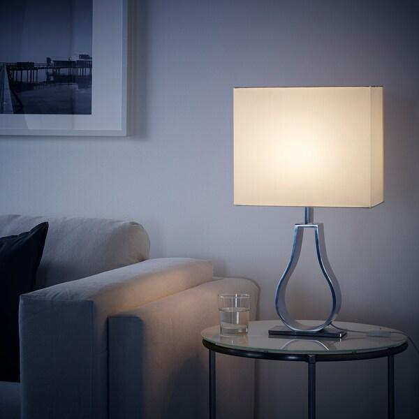 1728°  Ikea KLABB Tischleuchte, elfenbeinweiß/vernickelt, 44 cm, Click & Collect