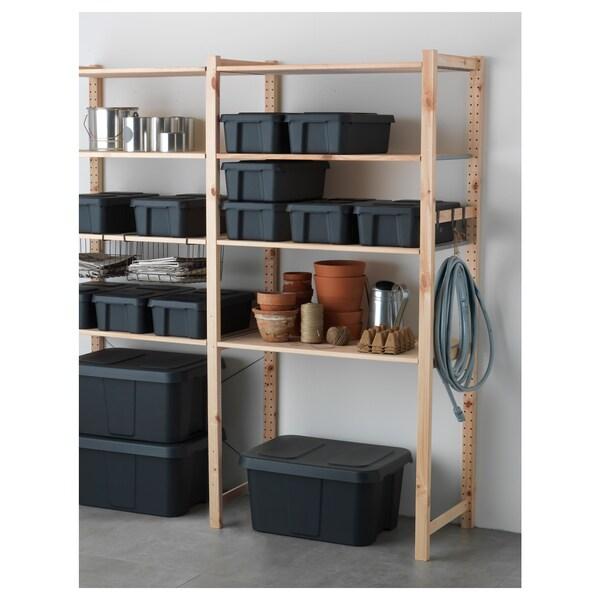 KLÄMTARE Box mit Deckel innen/außen, dunkelgrau, 27x45x15 cm