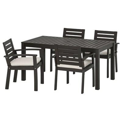KLÖVEN Tisch+4 Armlehnstühle/außen, schwarzbraun/Frösön/Duvholmen beige