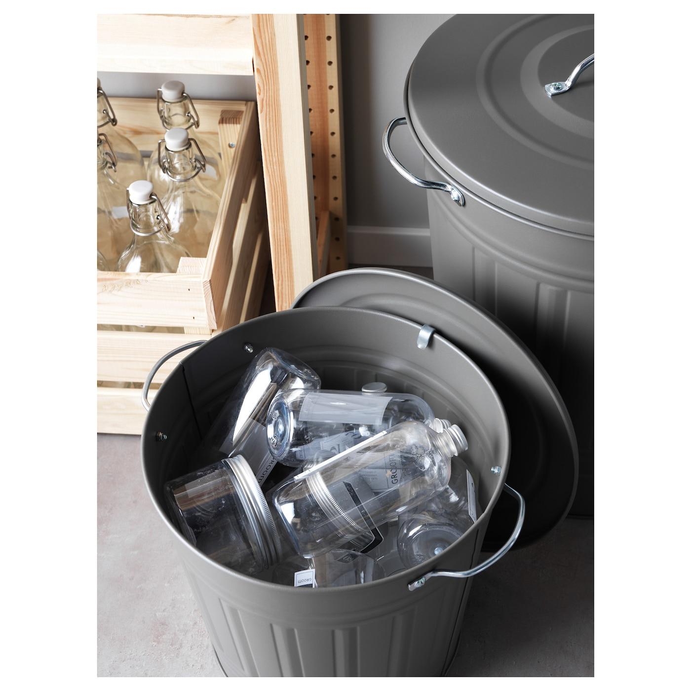IKEA KNODD Tonne mit Deckel; in weiß; aus Stahl; Mülltonne Eimer 40l
