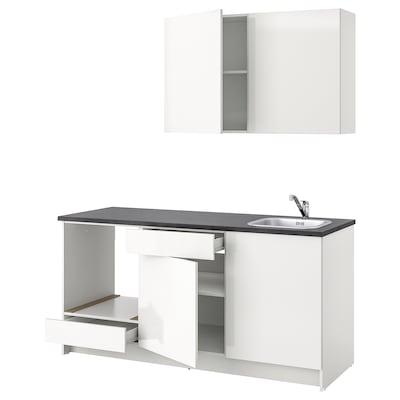 KNOXHULT Küche, Hochglanz weiß, 180x61x220 cm