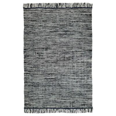 KÖPENHAMN Teppich flach gewebt, Handarbeit dunkelgrau, 170x240 cm