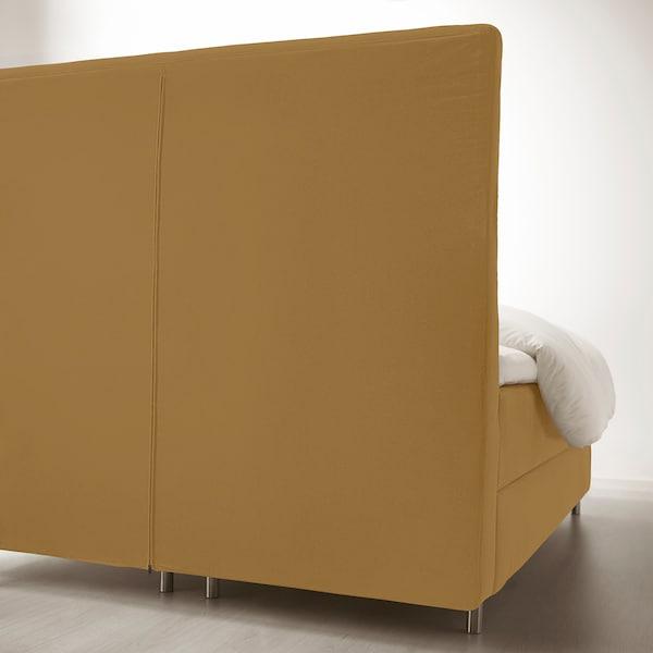KONGSFJORD Boxspringbett, Hyllestad fest/mittelfest/Tustna Djuparp gelb-beige, 180x200 cm