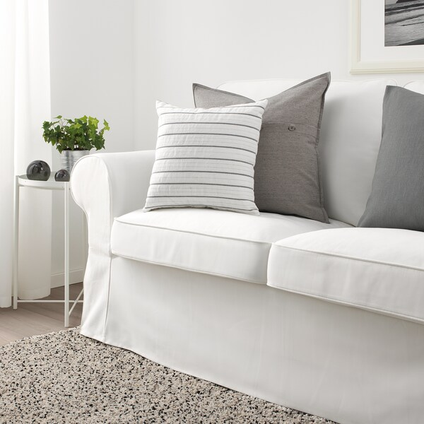 KONSTANSE Kissen, weiß/dunkelgrau, 40x40 cm