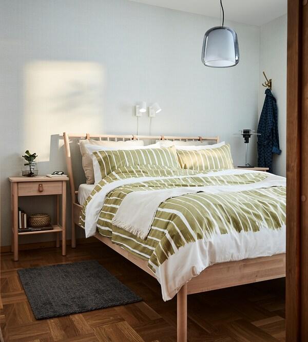KRANSRAMS Bettwäscheset, 2-teilig, weiß/grün, 140x200/80x80 cm