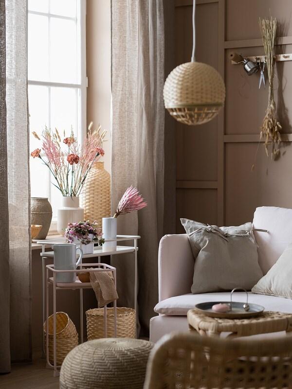 KRYDDPEPPAR Blumenständer, drinnen/draußen beige, 65 cm