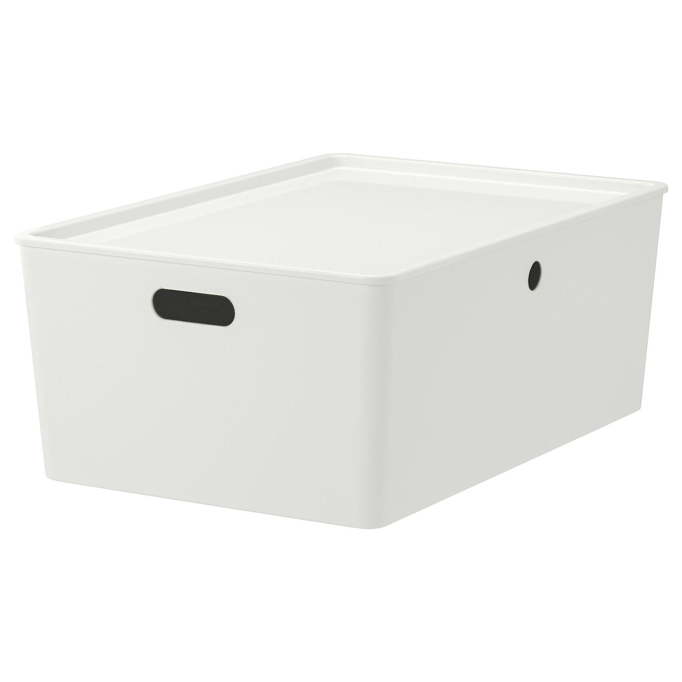KUGGIS Box mit Deckel - weiß 16x16x16 cm