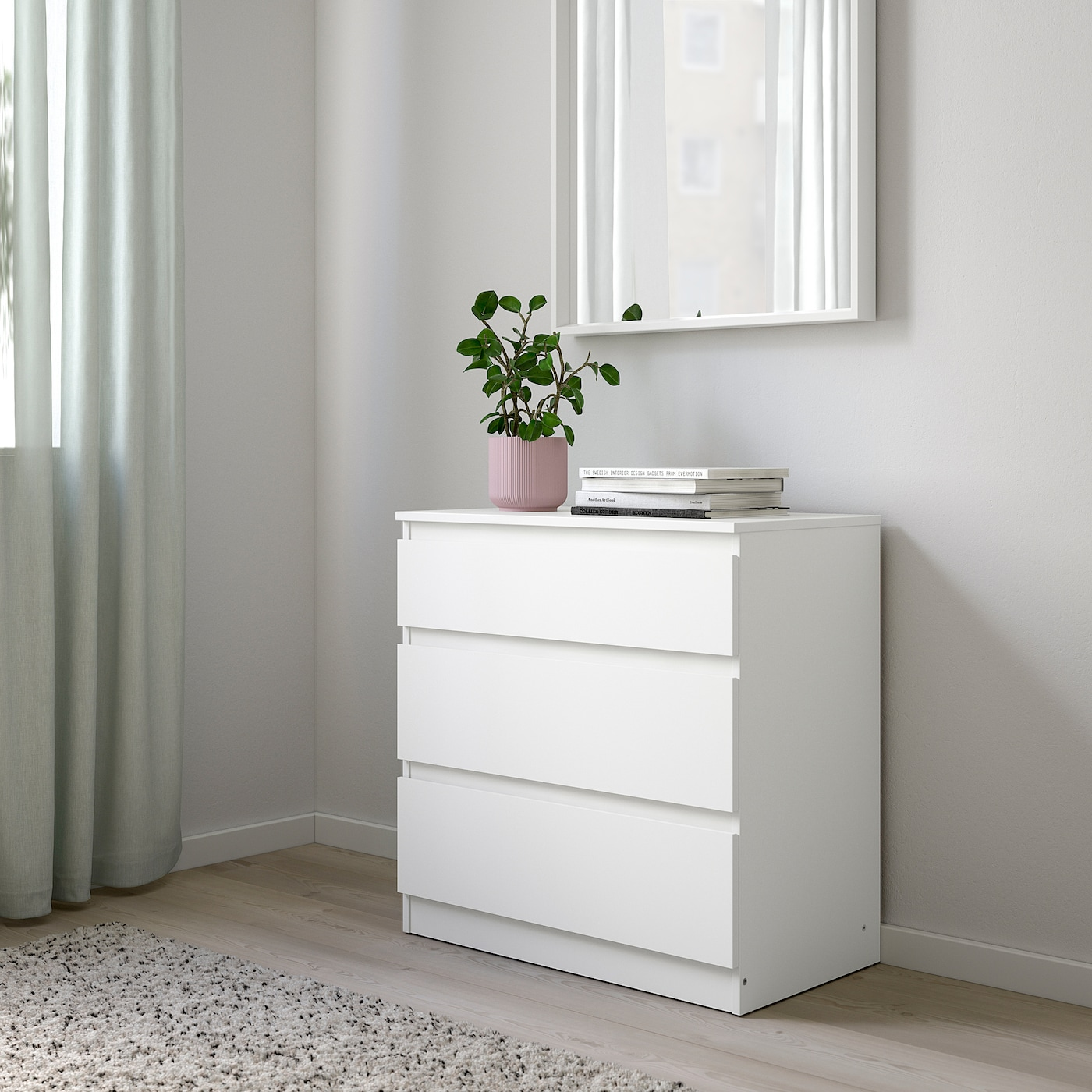 KULLEN Kommode mit 3 Schubladen, weiß, 70x72 cm