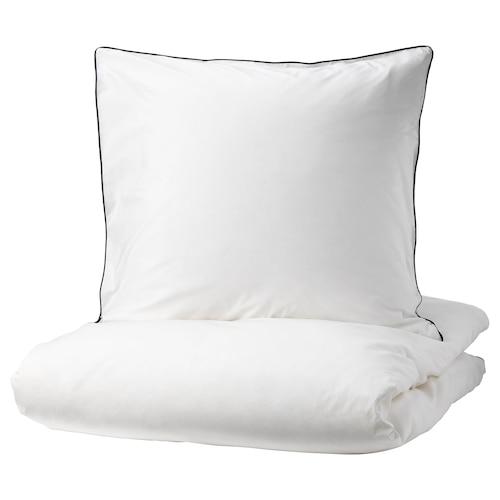 KUNGSBLOMMA Bettwäscheset, 3-teilig weiß/grau 200 Quadratzoll 2 Stück 220 cm 240 cm 80 cm 80 cm