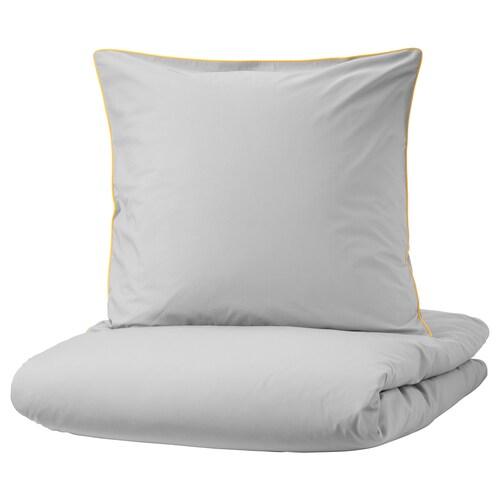 KUNGSBLOMMA Bettwäscheset, 2-teilig grau/gelb 200 Quadratzoll 1 Stück 200 cm 140 cm 80 cm 80 cm