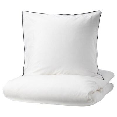 KUNGSBLOMMA Bettwäscheset, 2-teilig weiß/grau 200 Quadratzoll 1 Stück 200 cm 140 cm 80 cm 80 cm
