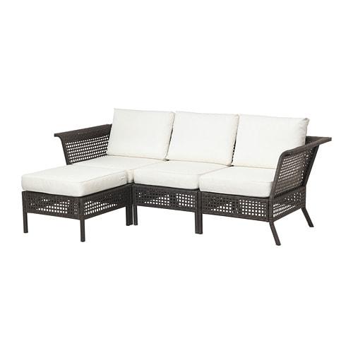 kungsholmen 3er sofa hocker au en schwarzbraun kungs. Black Bedroom Furniture Sets. Home Design Ideas