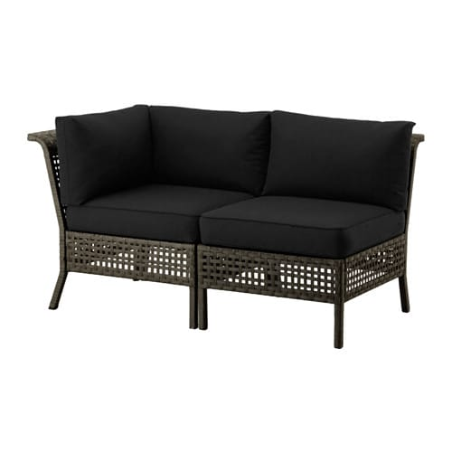 kungsholmen kungs 2er sofa au en schwarzbraun schwarz ikea. Black Bedroom Furniture Sets. Home Design Ideas