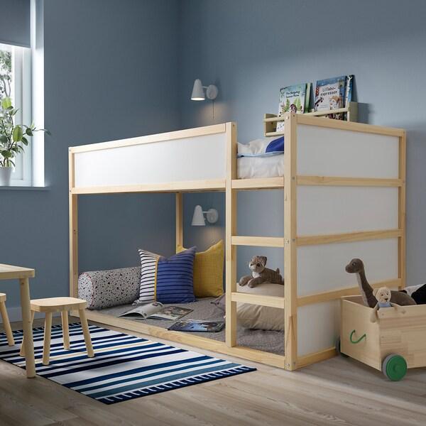 KURA Bett umbaufähig, weiß/Kiefer, 90x200 cm