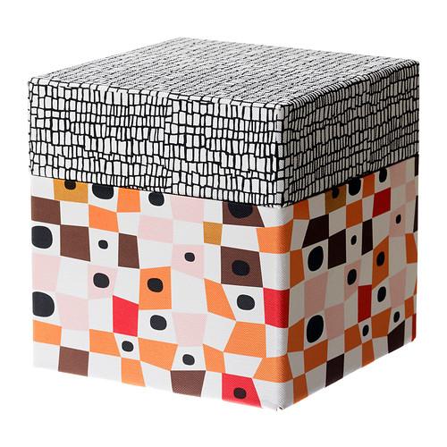 kvittra kasten mit deckel orange braun 15x15x15 cm ikea. Black Bedroom Furniture Sets. Home Design Ideas
