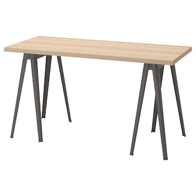LAGKAPTEN / NÄRSPEL Schreibtisch, Eicheneff wlas/dunkelgrau, 140x60 cm