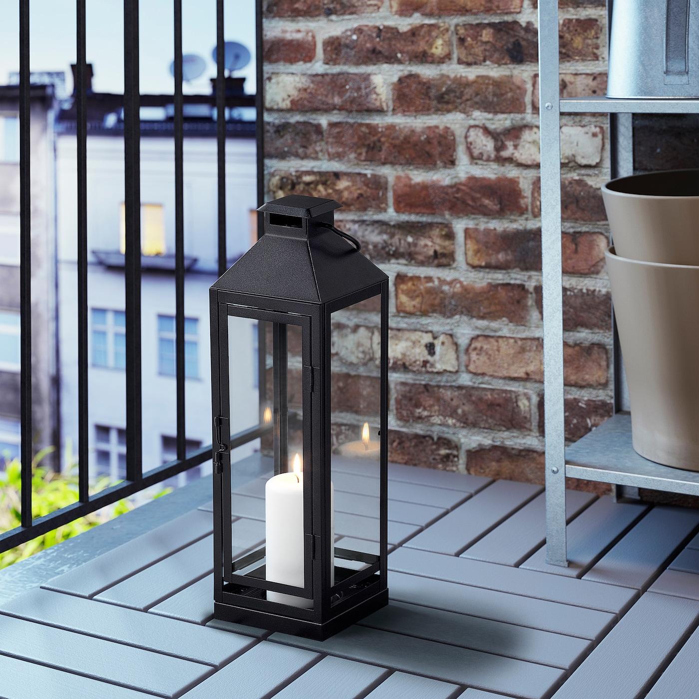 ; Gartenlaterne 43cm IKEA LAGRAD Laterne in schwarz; für innen und außen;
