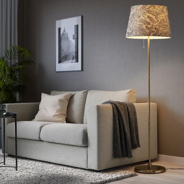 LÅGVIND Leuchtenschirm, schwarz Blätter/beige, 44 cm