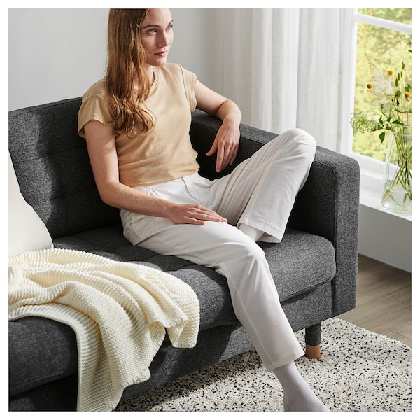 LANDSKRONA 3er-Sofa, mit Récamiere/Gunnared dunkelgrau/Holz