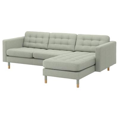 LANDSKRONA 3er-Sofa, mit Récamiere/Gunnared hellgrün/Holz