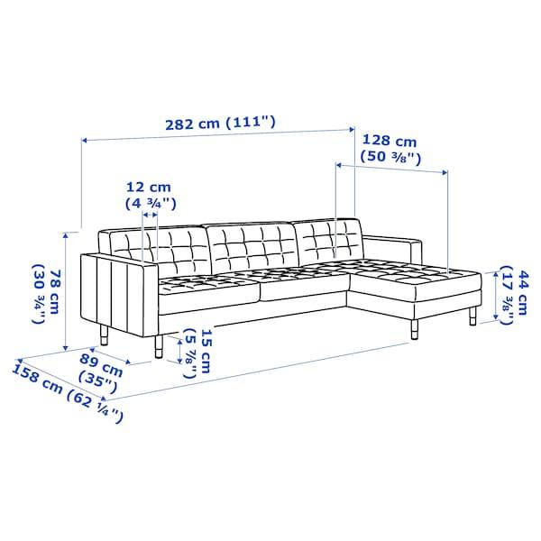 LANDSKRONA 4er-Sofa, mit Récamiere/Gunnared hellgrün/Holz