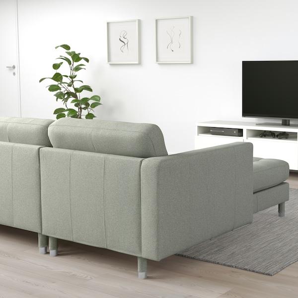 LANDSKRONA 4er-Sofa, mit Récamiere/Gunnared hellgrün/Metall