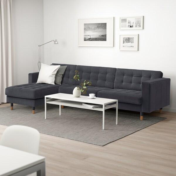 LANDSKRONA 4er-Sofa, mit Récamiere/Samt dunkelgrau/Holz