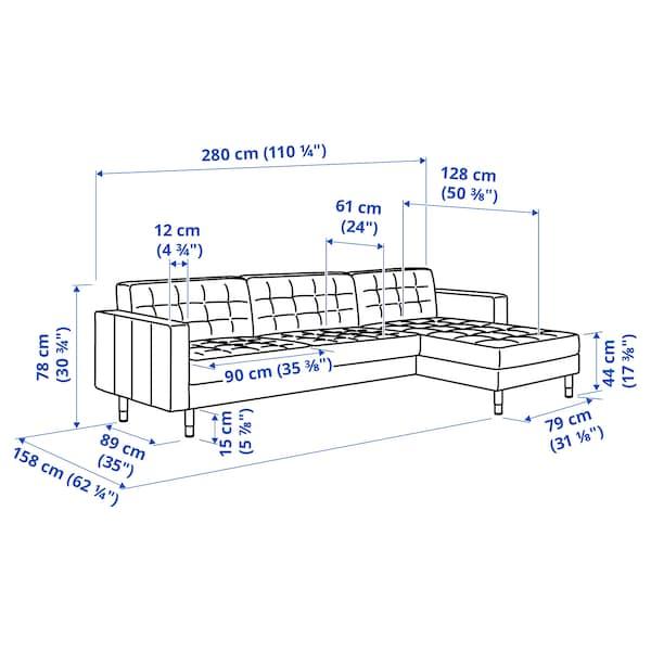 LANDSKRONA 4er-Sofa, mit Récamiere/Samt gelb/Holz