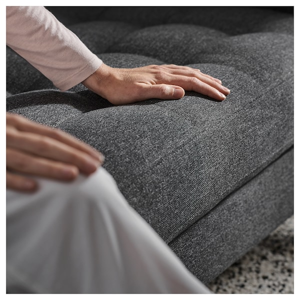 LANDSKRONA 5er-Sofa, mit Récamieren/Gunnared dunkelgrau/Holz