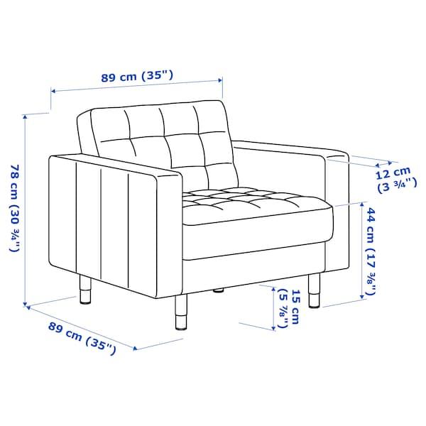 LANDSKRONA Sessel, Samt/gelb/Holz