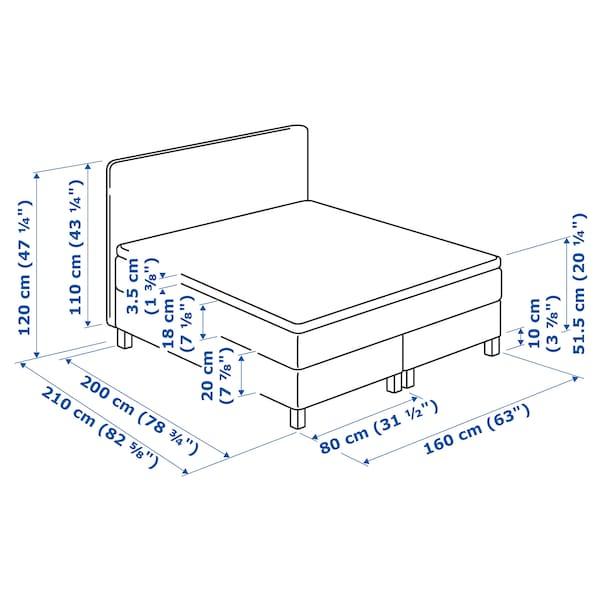 LAUVIK Boxbett, Hafslo mittelfest/Talgje beige, 160x200 cm
