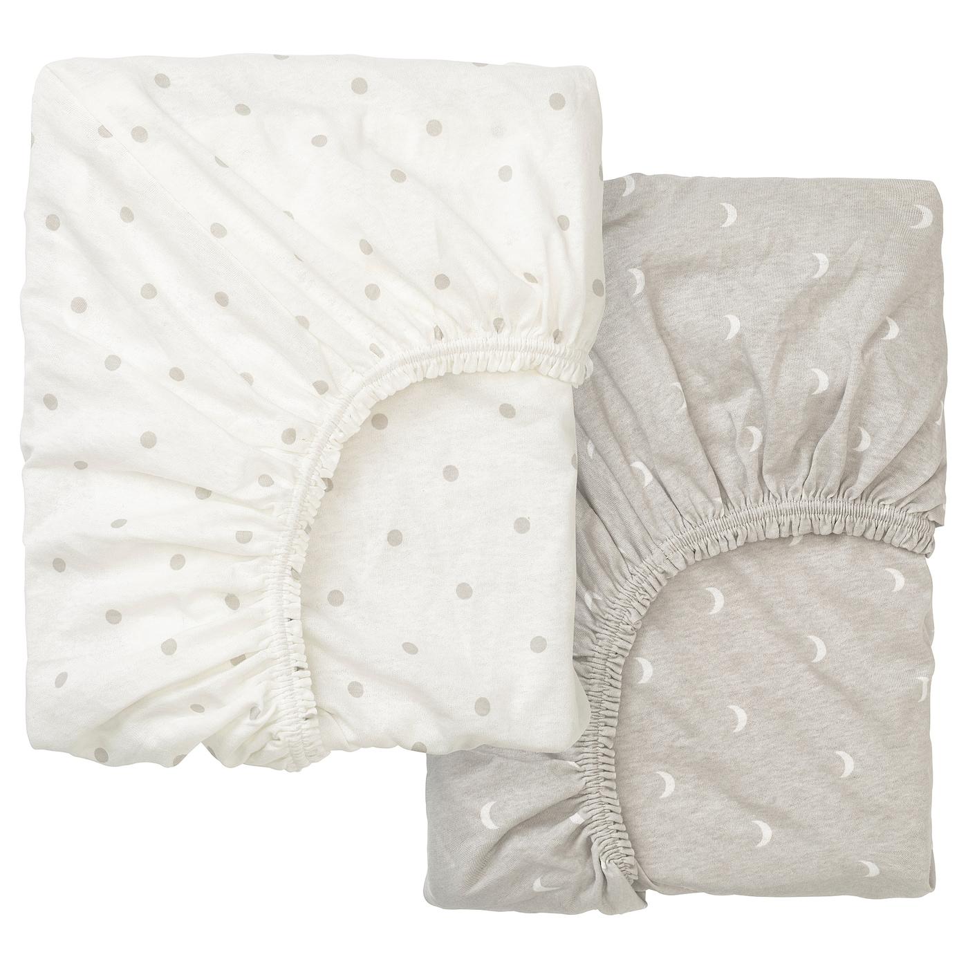 LENAST Spannbettlaken für Babybett - Punkte/Mond 70x140 cm