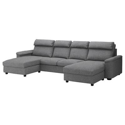 LIDHULT 4er-Sofa mit Récamieren/Lejde grau/schwarz 102 cm 76 cm 164 cm 369 cm 98 cm 120 cm 7 cm 321 cm 53 cm 45 cm