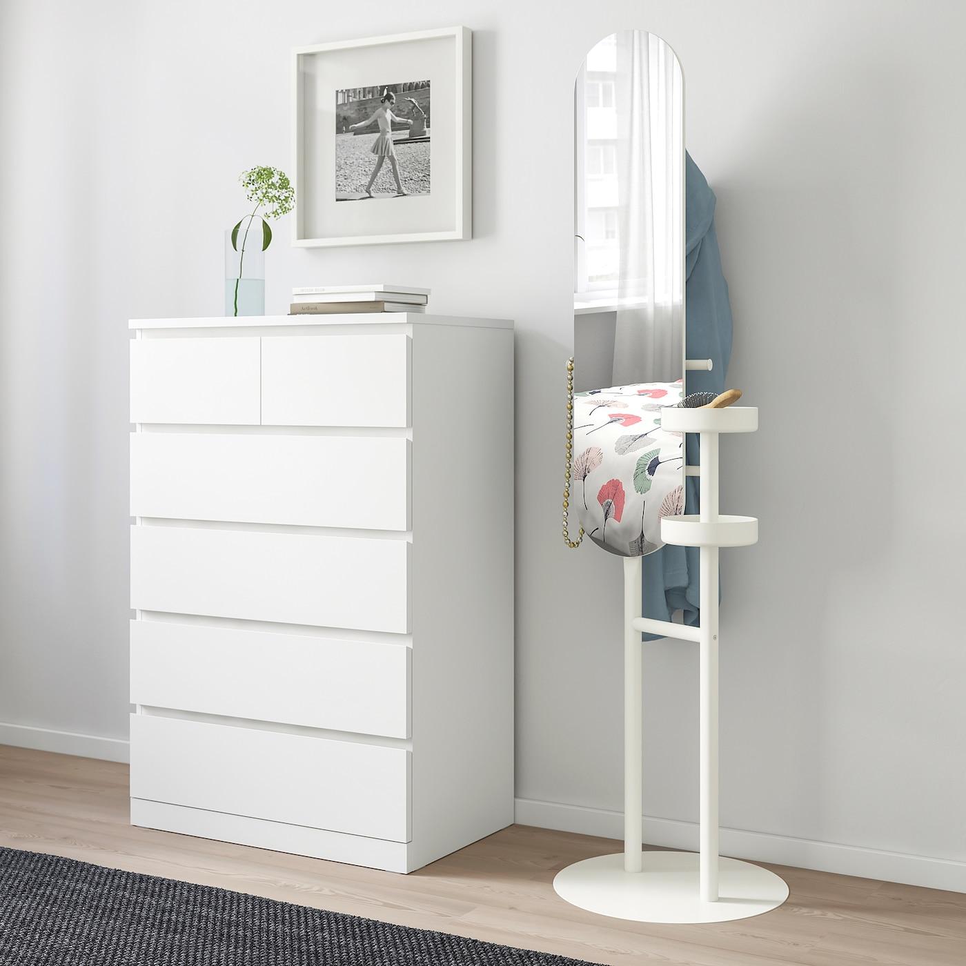 LIERSKOGEN Kleiderständer mit Spiegel, weiß, 50x185 cm