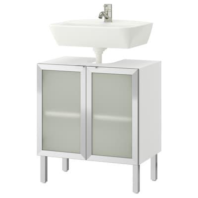 LILLÅNGEN / TYNGEN Waschbeckenunterschrank, 2 Türen, weiß/Aluminium PILKÅN Mischbatterie, 60 cm