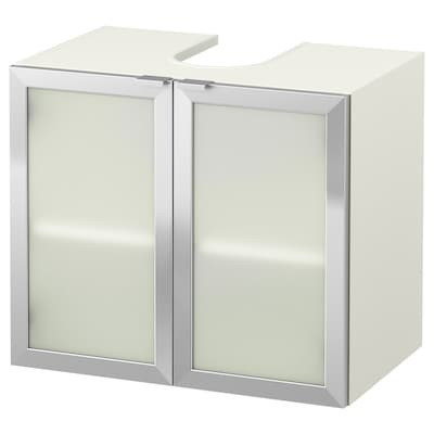 LILLÅNGEN Waschbeckenunterschrank, 2 Türen, weiß/Aluminium, 60x38x51 cm