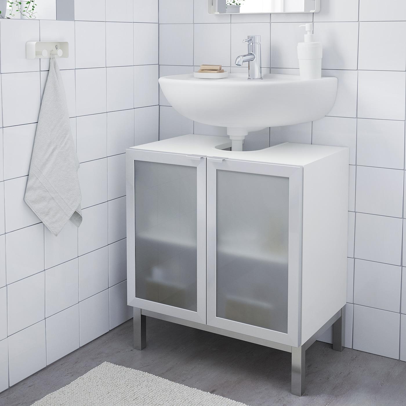 Lillangen Waschbeckenunterschrank 2 Turen Weiss Aluminium Ikea Deutschland