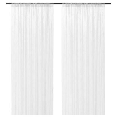 LILLEGERD Gardinenstore/Paar, weiß Blatt, 145x300 cm