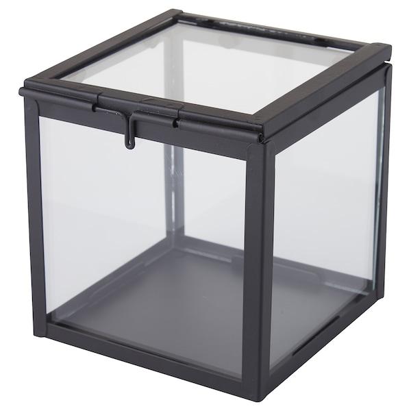LINDRANDE Dekoschachtel Klarglas/schwarz 16 cm 16 cm 16 cm