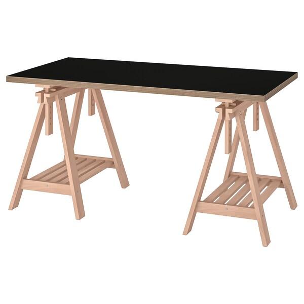 LINNMON / FINNVARD Tisch   schwarz, Sperrholz Buche   IKEA Deutschland