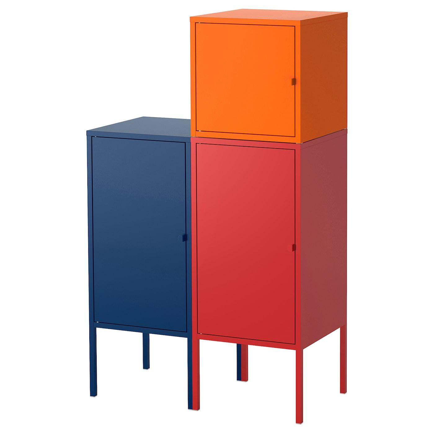 LIXHULT, Aufbewahrungskombi, dunkelblau, rot/orange 892.486.82