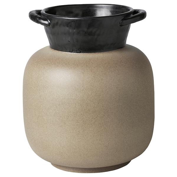 LOKALT Vase, beige schwarz/Handarbeit, 21 cm