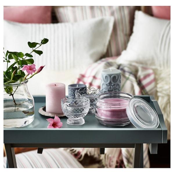 LUGGA Blockkerze, duftend, blumige Romantik rosa, 10 cm