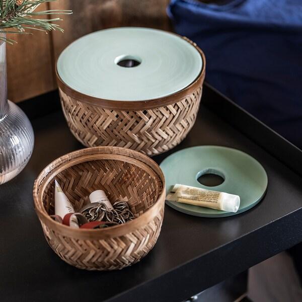 LUSTIGKURRE Korb mit Deckel 2er-Set, Bambus/türkis