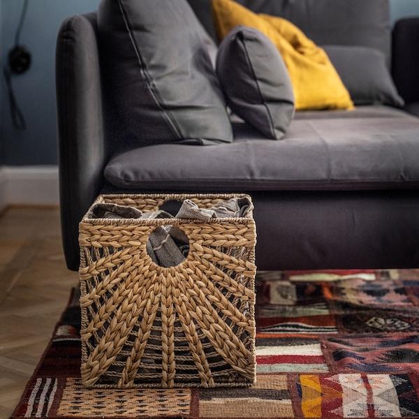 LUSTIGKURRE Korb, naturfarben Wasserhyazinthe/Seegras, 32x33x32 cm