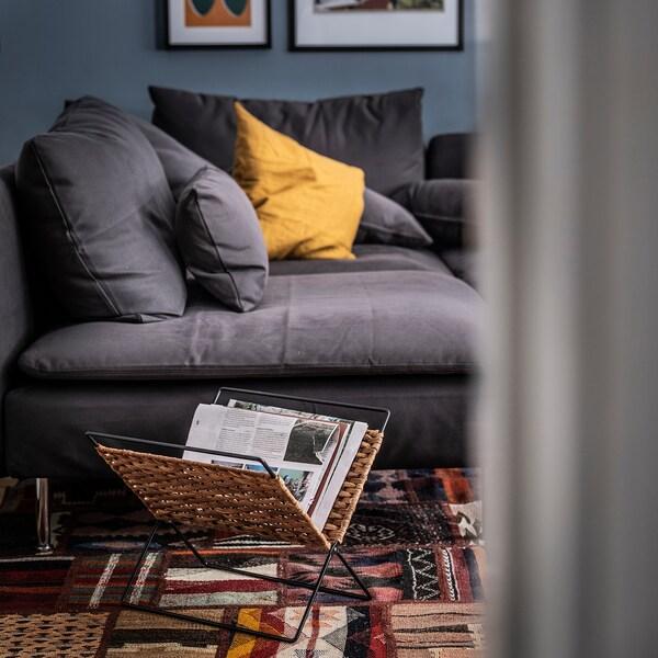 LUSTIGKURRE Zeitschriftensammler, naturfarben/schwarz, 35x35 cm