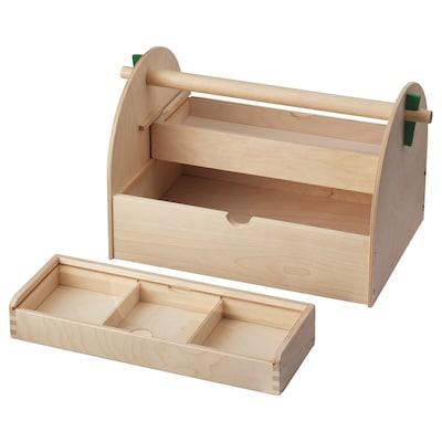 LUSTIGT Kasten für Bastelutensilien Holz 39 cm 23 cm 23 cm