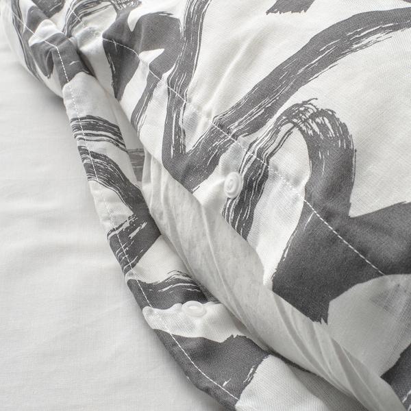 LYKTFIBBLA Bettwäscheset, 2-teilig, weiß/grau, 140x200/80x80 cm