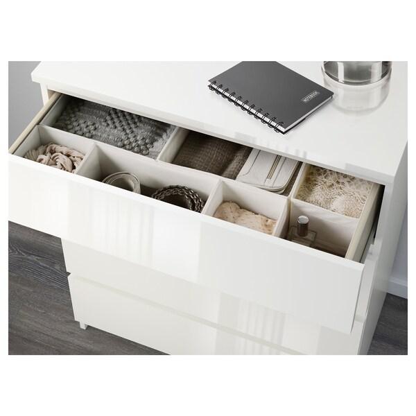 MALM Kommode mit 3 Schubladen, Hochglanz weiß, 80x78 cm