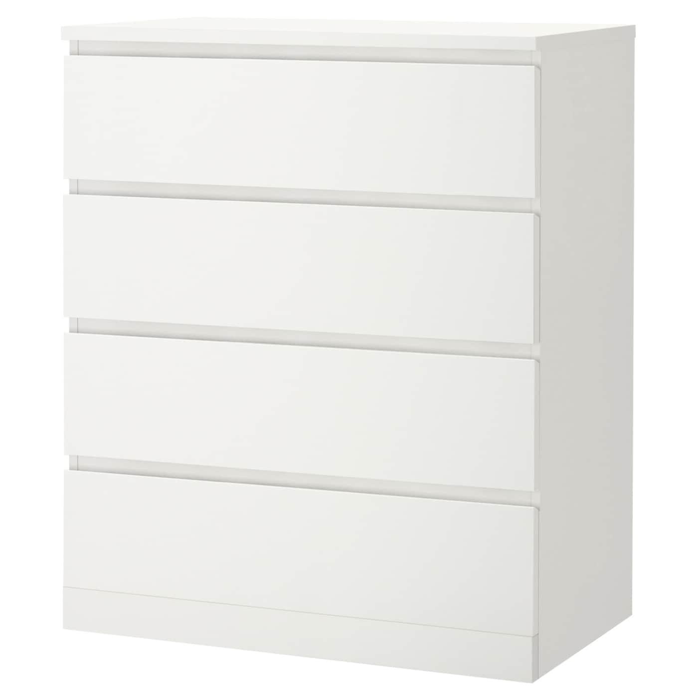 MALM Kommode mit 4 Schubladen - weiß 80x100 cm